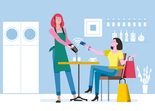 Young woman with shopping bags, sitting in a coffee shop paying contact less with mobile phone in bar Illustration