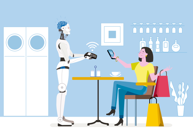 Young woman with shopping bags, sitting in a coffee shop paying contactless with mobile phone in cafe Illustration