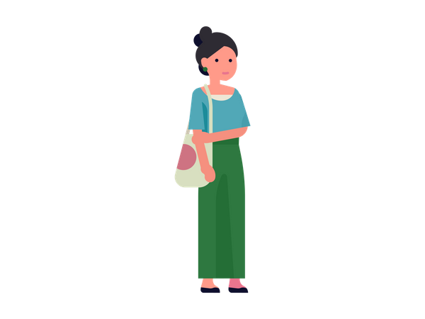 Young woman with shoulder bag Illustration