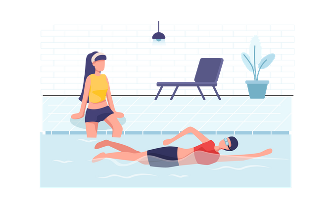 Young women resting and swimming at swimming pool Illustration