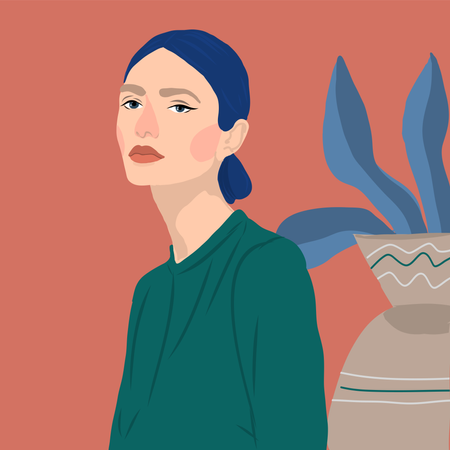 Young women with plants Illustration