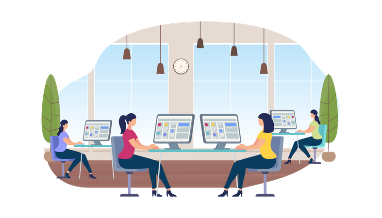 Young Women Working on Computers Sitting at Desks Illustration