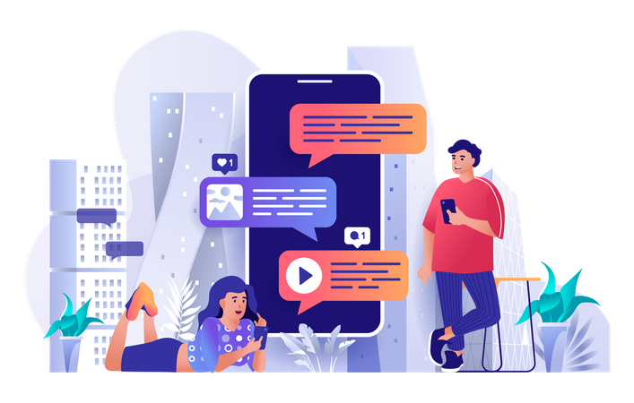 Youngsters using messaging service Illustration